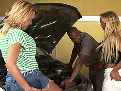 Erika karla and the mechanic. Two filthy tgirls banging the mechanic for repairing