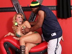 Erika and capoeira. Hot tranny blondie enjoying black tool in her tight assed