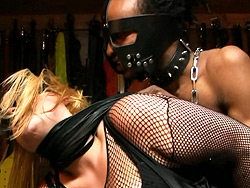 Kim and flip oral dungeon. Lascivious shemale Kim gets treated violent